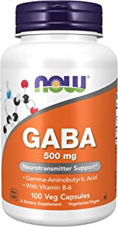 Now Supplements, GABA (Gamma-Aminobutyric Acid)500 mg + B-6, 100 Count, Veg Capsules