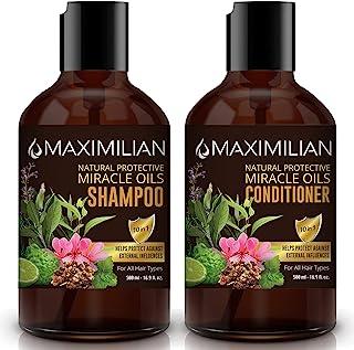 MAXIMILIAN All Natural Shampoo Deep Cleansing Natural Shampoo and Conditioner Set, 10 Hair Oils & Provitamin B5, Vegan Sha...
