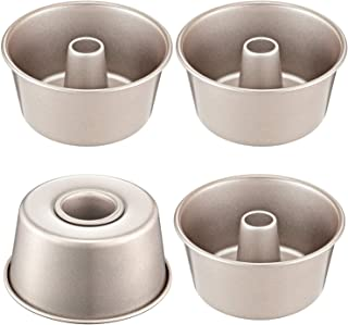 CHEFMADE Mini Angel Food Pan Set, 4-Inch 4Pcs Non-Stick Chiffon Bakeware, FDA Approved for Oven and Instant Pot Baking (Champagne Gold)
