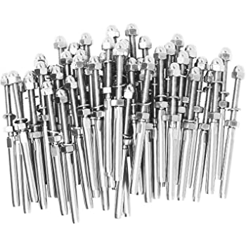 """VistaView CableTec Stainless Steel DIY Hand-Crimp Threaded Tensioner Ends for 3//16 Cable Railing Lot of 10 CECOMINOD040945 4-1//4/"""" Long, for Wood Or Metal Posts"""