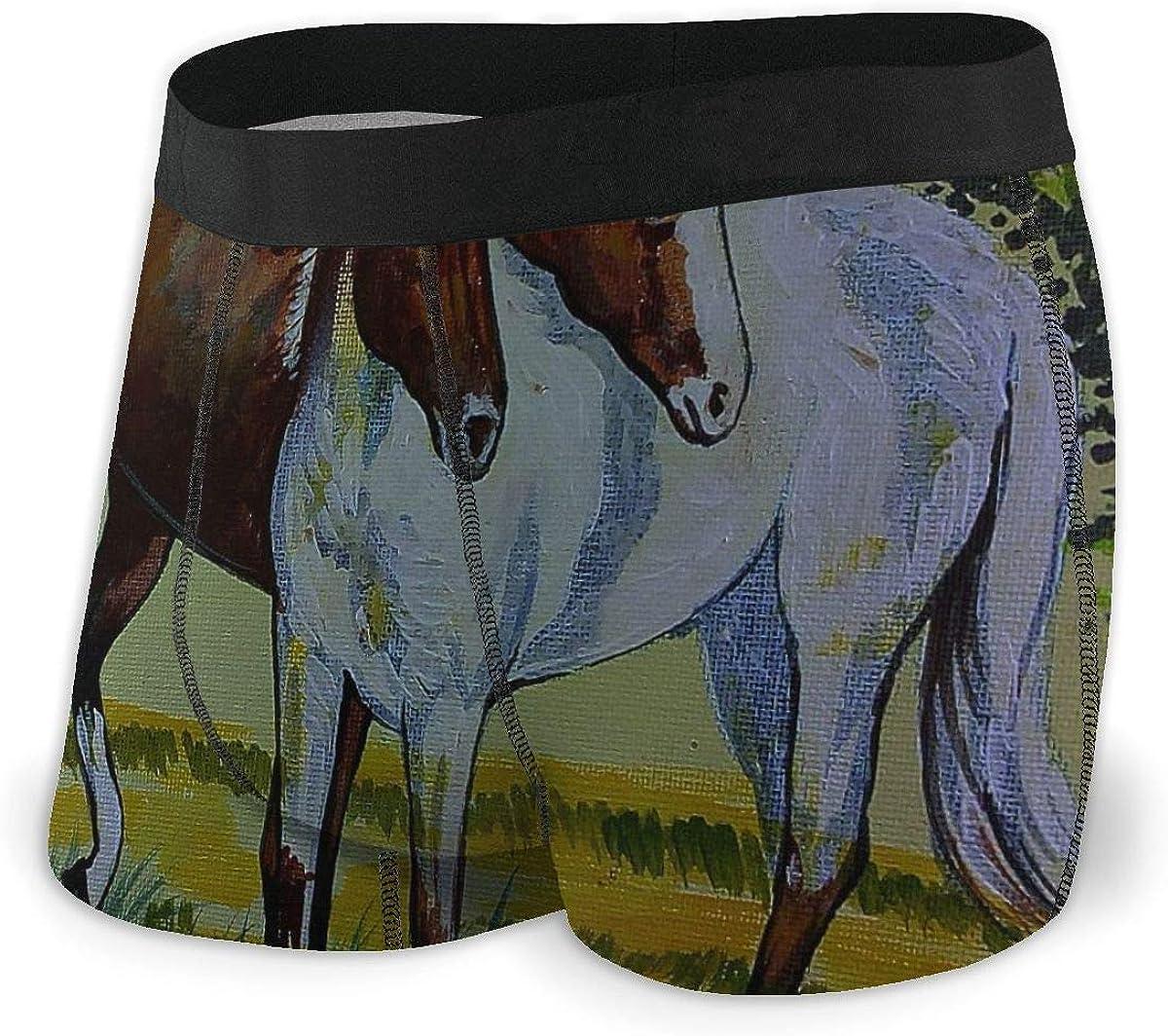 Randolph Wordsworth Mens Boxer Briefs Oil Color Horse Vector Cute Breathable Underwear