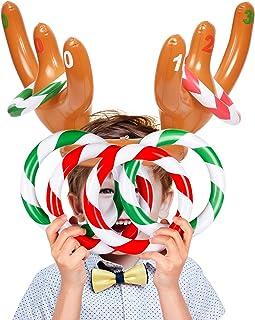 Joyjoz 2 Paquetes de Gorro de Asta de Reno Inflable de Navidad con Anillos, Juego de Lanzamiento de Fiesta para Niños de la Familia de Navidad (2 Astas y 12 Anillos)