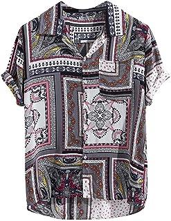 HEATLE - Camisas vintage para hombre, diseño retro con botones y puños de manga corta, estilo holgado, para verano, estilo...