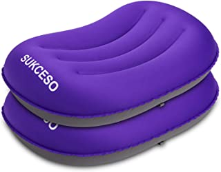 [2-PACK] Ultralight Inflatable Camping Pillow - Compressible, Compact, Comfortable for Sleeping While Traveling, Hiking, o...