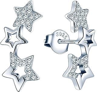 MicVivien Orecchini da donna a forma di stella, in argento 925, con zirconi, ipoallergenici, a clip, per donne e ragazze