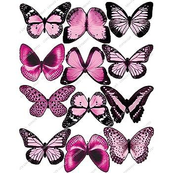12 x Cakeshop PRECORTADAS decoraci/ón para pasteles comestibles en forma de Mariposas de color Rosa