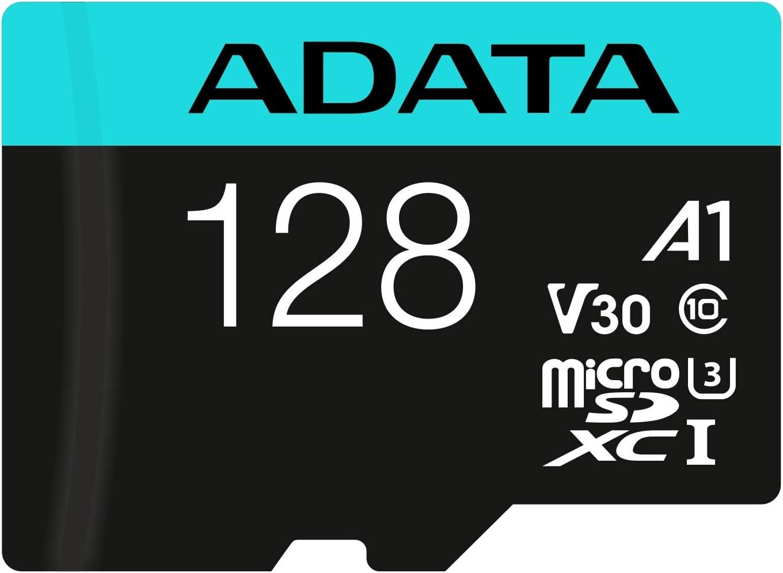 ADATA Premier Pro 128GB MicroSDXC UHS-I U3 V30 Class 10 A2 MircoSD Memory Card with Adapter AUSDX128GUI3V30SA2-RA1