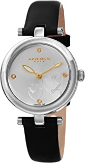 Akribos XXIV Women's Diamond Accented Heart Engraved Dial Silver & Black Leather Strap Watch - Packed in a Beautiful Gift Box - AK1044SSB