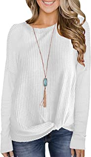 Womens Waffle Knit Twist Knot Pullover Tops Loose Fitting...