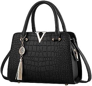 VESNIBA Fashion Woman's Tassel Crossbody Bags Leather Handbag Alligator Pattern Shoulder Bag