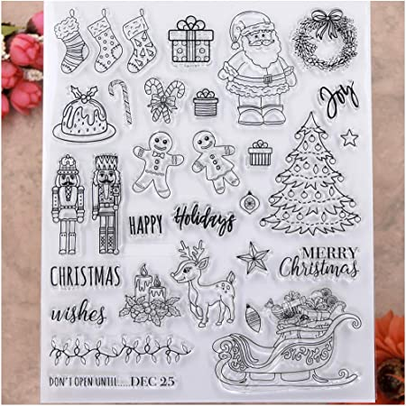 KWELLAM Large Size Merry Christmas Wishes Santa Tree Wreath Joy Happy Holidays Deer Clear Stamps for Card Making Decoration and DIY Scrapbooking