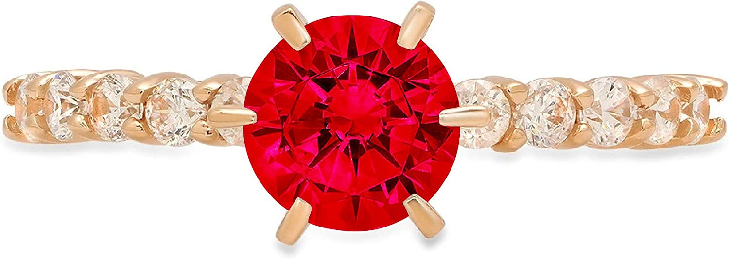 1.14ct Brilliant Round Cut Solitaire Flawless Ideal VVS1 Simulated CZ Red Ruby Engagement Promise Statement Anniversary Bridal Wedding with accent Designer Ring 14k Yellow Gold