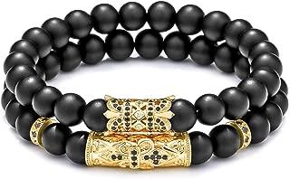 8mm Natural Stone Beads Bracelet for Men Women Black Matte Onyx Stone Beads Adjustable