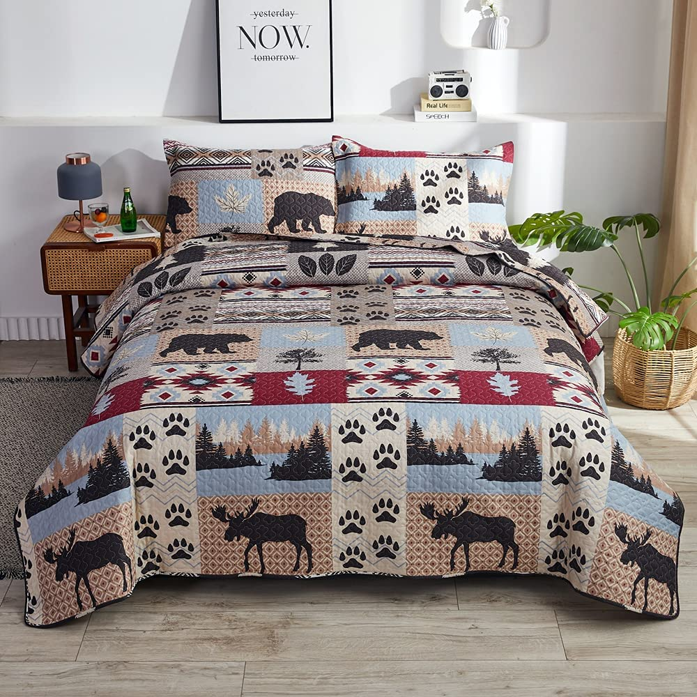 Rustic Cabin Summer Moose Bear Quilts Lodge Full Outlet ☆ Free Shipping Queen Size Large discharge sale Beds