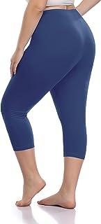 Cheapestbuy Women's Plus Size Capri Leggings Soft and Lightweight Basic Capris Legging Pants