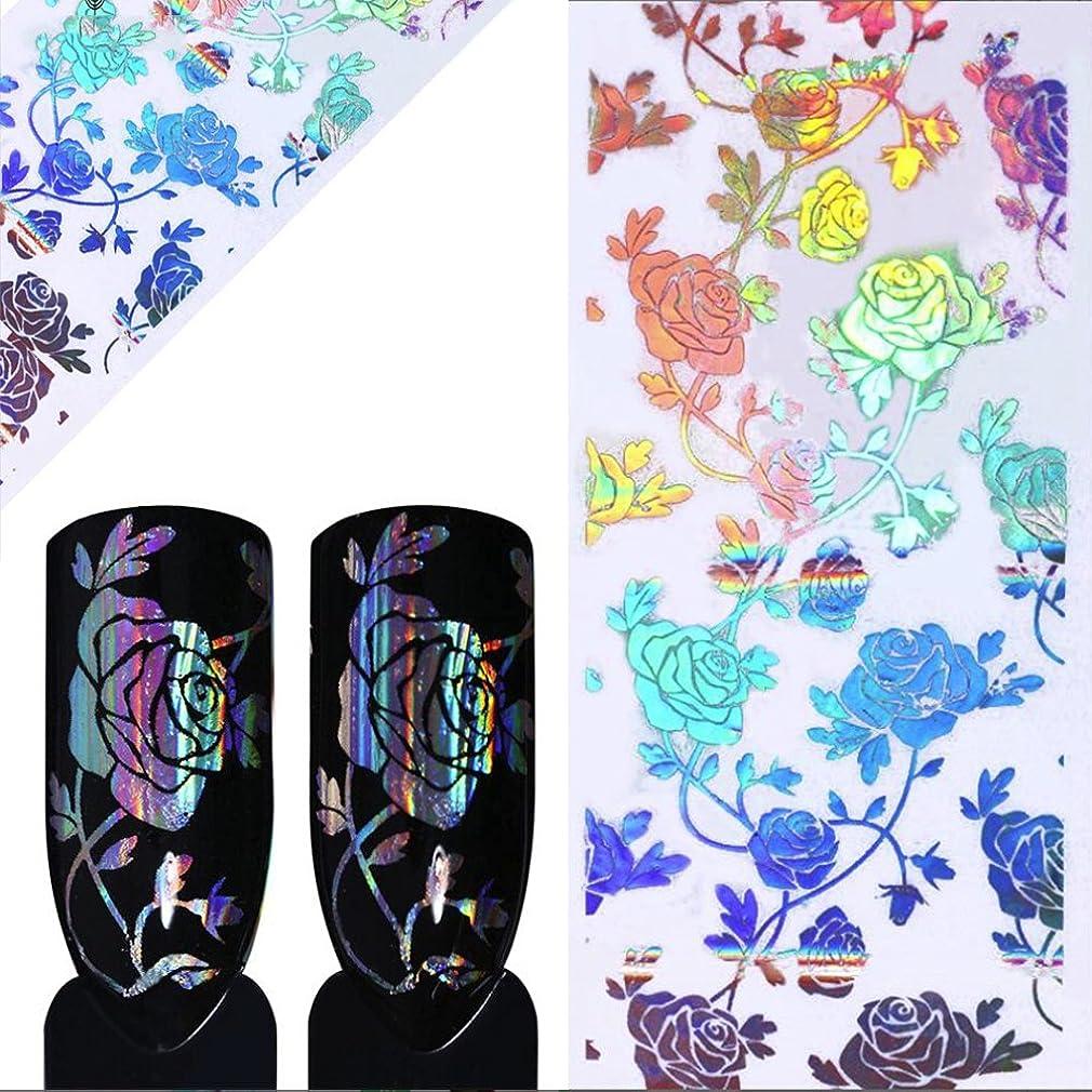 大胆なベリフォアマンOUPU ネイルシール レーザー フラワー 花 透明 ネイルステッカー ネイルデコレーション ネイルアート