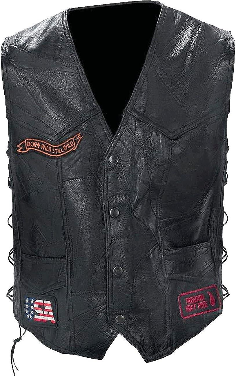 Diamond Plate Rock Design Genuine Buffalo Leather Biker Vest with Patches