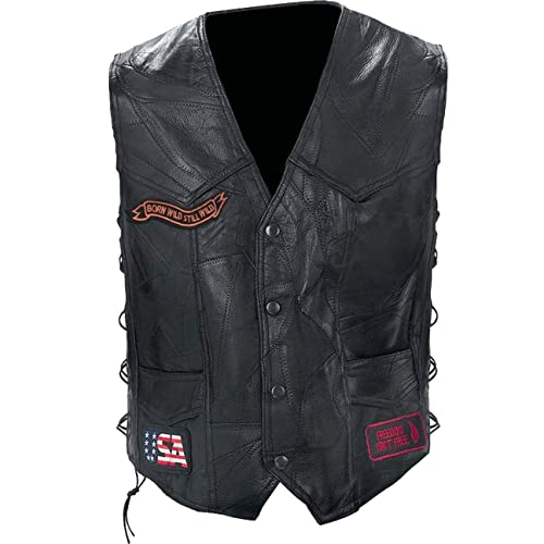 067e130635b Black Diamond Plate Rock Design Genuine Buffalo Leather Biker Vest