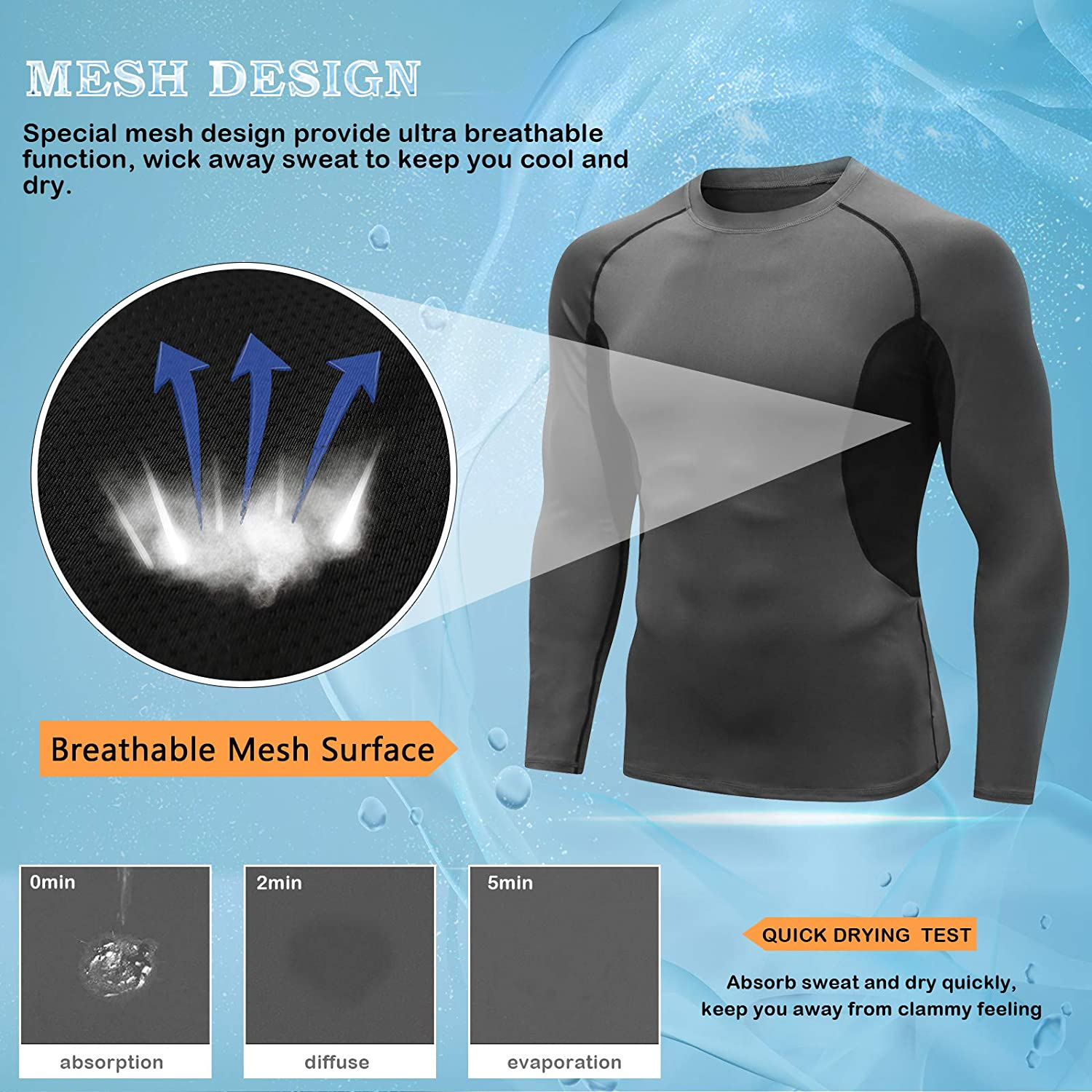Base Layer Shirt Long Sleeve T-Shirt Gym Top for Running Fitness Sport MEETYOO Men/'s Compression Tops