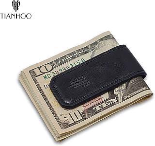 TIANHOO Magnetic Money Clip Leather Cash Holder for Men Slim Compact Money (PU Balck)