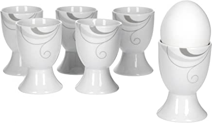 Preisvergleich für Van Well Portofino 6er Set Eierbecher, rund Ø 4,8 cm, H 7,0 cm, Rankendekor, edles Marken-Porzellan