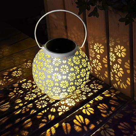 luce calda Lanterna solare in vetro per conserve per patio impermeabile a energia solare cortile e prato Powstro giardino a LED