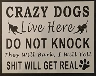 OutletBestSelling Reusable Sturdy Do Not Knock Crazy Dogs Live Here Dog 11