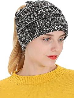 LOKIDVE Women's Winter Ribbed Knit Hat Ponytail Beanie Messy High Bun Cap