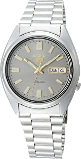 Men's 5 37mm Steel Bracelet & Case Hardlex Crystal Automatic Grey Dial Analog Watch SNXS75K1
