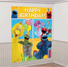 amscan Sesame Street Elmo Scene Setters Wall Banner Decorating Kit Birthday Party Supplies,Multicolor