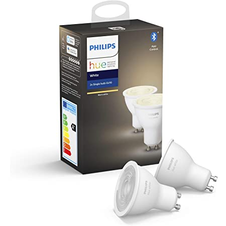 Philips Hue Pack de 2 Bombillas Inteligentes LED GU10, con Bluetooth, Luz Blanca Cálida, Compatible con Alexa y Google Home