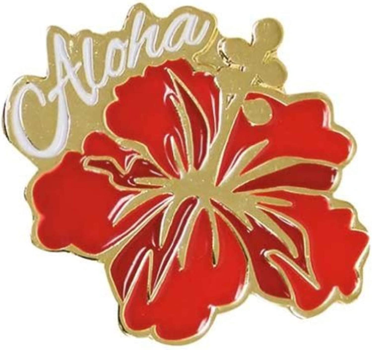 Islander Hawaiian Lapel or Hat Pin Aloha Hibiscus Red, Gold One Size