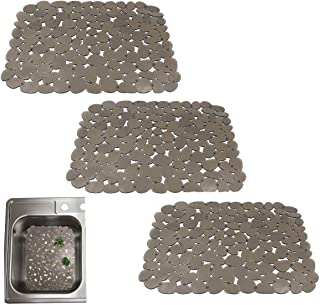 Quable Sink Drainer Mat,Kitchen Sink Mat Protector PVC Protects Glass Pebble Brown (3 PACK)