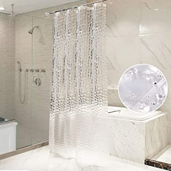 OTraki シャワーカーテン 透明 120 x 160cm 防カビ 防水 浴室カーテン 160cm丈 リング付属 取付簡単 風呂カーテン クリア 3D 間仕切り 1.2メートル 目隠し 清潔感 ユニットバス プライバシー保護