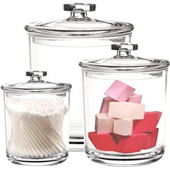 Youngever 60-Ounce, 30-Ounce and 15-Ounce Clear Plastic Apothecary Jars Set of 3