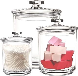 Youngever Lot de 3 bocaux d'apothicaire en plastique transparent de 1,77 cl, 850,5 g et 425,2 g