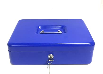 BRUFER 72231 Cash Box with Removable Tray and Lock, 12-inch Extra Large Cash
