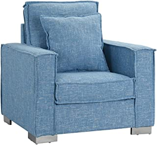 Living Room Large Linen Fabric Armchair, Living Room Accent Chair (Light Blue)