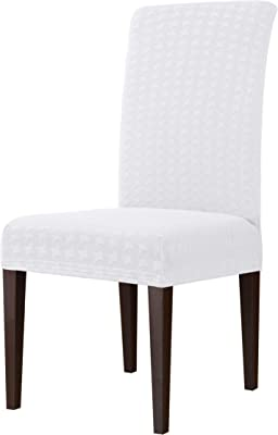 subrtex Dining Room Decorative Seat Slip Cover for Kitchen Table Chairs Set, 4pcs, Pure White