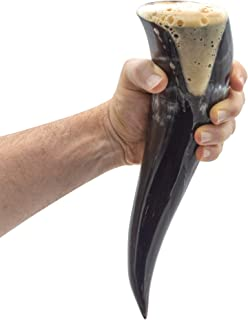 Genuine Ox-Horn Viking Drinking Horn - w/Horn Stand and Burlap Gift Sack - 12