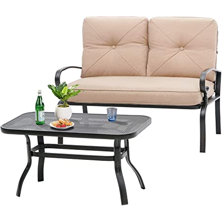 Incbruce Outdoor Patio Furniture Loveseat 2-Piece and Bistro Coffee Table Set Furniture Bench with Cushion, Lawn Front Porch Garden, Steel Frame, Brown