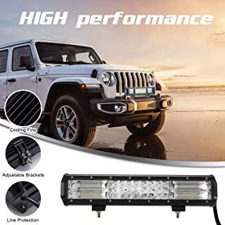 "15"" LED Light Bar, YUGUANG 3 Rows 216W 6500K Off Road Work Lamp Spot Flood Combo Beam, IP68 Waterproof Precision Reflectors with Forward Facing LEDs for Hoods Front Bumper Grille, 3 Years Warranty"