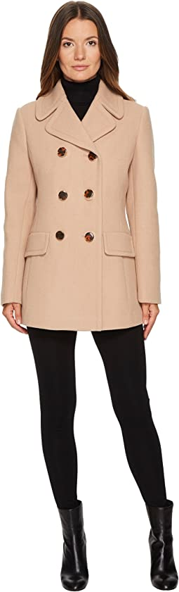 Kate Spade New York - Wool Twill Double-Breasted Bow Back Peacoat