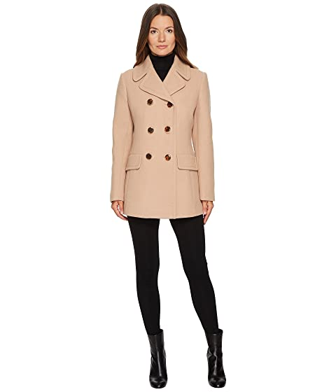 Wool Twill Double-Breasted Bow Back Peacoat