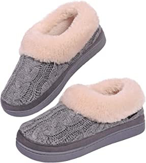 VeraCosy Ladies' Warm Knitted Faux Suede Memory Foam Moc Slippers