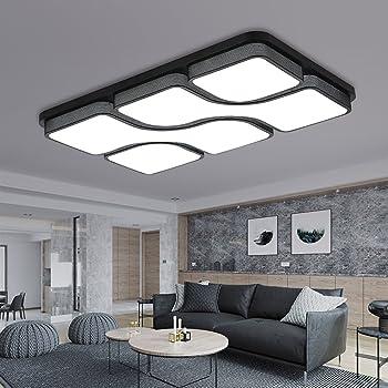 ETiME 8x8cm Design LED Deckenlampe Deckenleuchte Wohnzimmer Lampe  Schlafzimmer Küche Leuchte 8K Schwarz Rechteck (8x8CM 8W Kaltweiß)