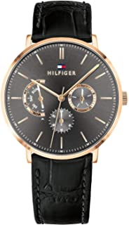 Tommy Hilfiger Men'S Grey Dial Black Leather Watch - 1710377
