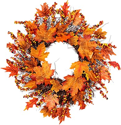 Youland Thanksgiving Wreath Front Door 17'' Artificial Maple Wreath Thanksgiving Fall Party Home Decorations Ornament Thanksgiving Decoration Ideas (17'')