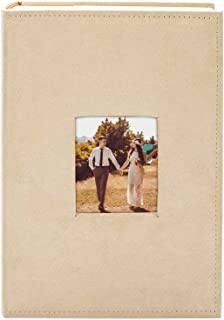 "Golden State Art Photo Album, Holds 300 4""x6"" Pictures, 3 per Page, Suede Cover, Beige"