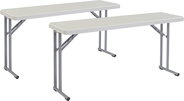 2 Pack National Public Seating 18 X 60 Heavy Duty Seminar Folding Table Speckled Grey